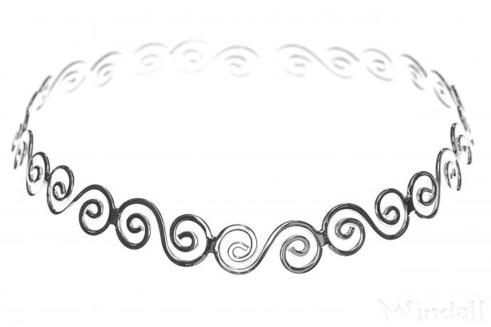 Keltischer Halsreif ~ IDALIA ~ Ø 12.5 cm - Lebens Spirals Hals-Schmuck - Silber - Windalf.de