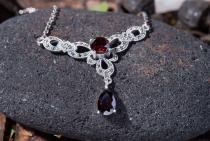 Mittelalter Halskette ~ MARLIN ~ Roter Kristall - Silber - Windalf.de
