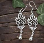 Mediaval Ohrringe ~ LIASA ~ 4.3 cm - Zauberhafte Ornamente - Bohemia Style - Vintage Silber - Windalf.de