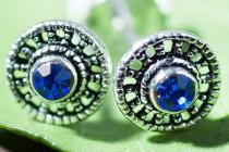 Wikinger Ohrstecker ~ RAîDA ~ Sonnenrad - Blauer Kristall - 5 mm - Silber - Windalf.de