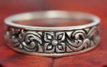 Mittelalter-Ring ~ DEVINA ~ 5 mm - Lebensblume - Antik Silber - Windalf.de