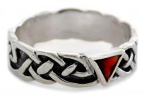 Ring ~ RIANNON ~ Celtic - Roter Kristall - Silber - Windalf.de