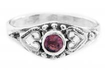 Mittelalter Ring ~ ANELYA ~ h: 0.7 cm - Amethyst - Silber - Windalf.de