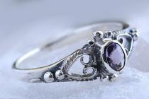 Zarter Damen Ring ~ ANELY ~ 0.7 cm - Amethyst Kristall - Elfenring - Silber - Windalf.de