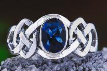Keltischer Ring ~ IDÂNA ~ 1 cm - Blauer Kristall - Celtic - Silber - Windalf.de
