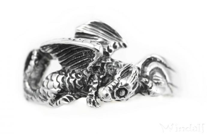 Drachen-Ring ~ NEPOMUK ~ Sleepy Dragon ~ Silber - Windalf.de