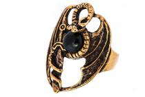 Ring Drache ~ TYRION ~ Gothic-Ring - Schwarzer Onyx - Bronze - Windalf.de