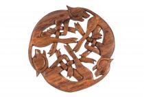Große, keltische Deko ~ DIE WILDE JAGD ~ Ø 29 cm - Wandbild - Handarbeit aus Holz - Windalf.de