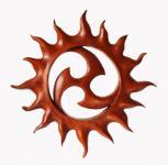 Wanddeko ~ SURIYA ~ Sonnensymbol - Triskele - 33 cm - aus Holz - Windalf.de