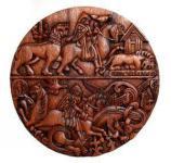 Wikinger Wandbild ~ SKARI ~ Ø 30 cm - Mythische Wesen & Krieger - Handarbeit aus Holz - Windalf.de