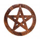 Große Holz Deko ~ ISGAARD ~ Ø 40 cm - Pentagramm mit keltischen Knoten - Handarbeit aus Holz - Windalf.de
