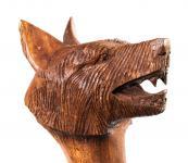 Mittelalter Wanderstab ~ DASAN ~ 130 cm - Wolf Wanderstock - Handarbeit aus Holz - Windalf.de