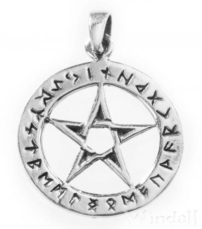 Pentagramm Anhänger ~ ASKA ~ mit Runen - Silber - Windalf.de