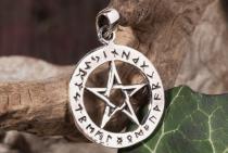 Schmuck Anhänger ~ ASKA ~ Ø 2.4 cm - Pentagramm mit Runen - Silber - Windalf.de