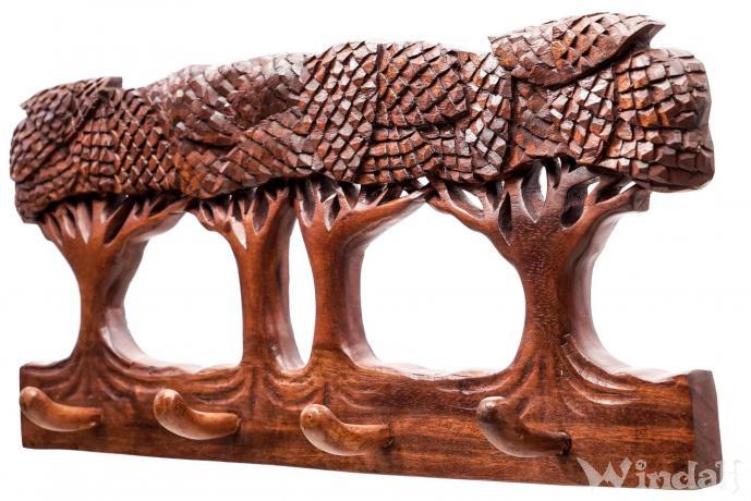 Pagan Garderobe Acorna B 51 Cm 4 Haken Lebensbaum Eichenhain Handarbeit Aus Holz