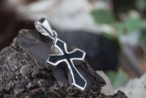 Anhänger ~ NOVA ~ Kreuz Gothic - Onyx - Silber - Windalf.de