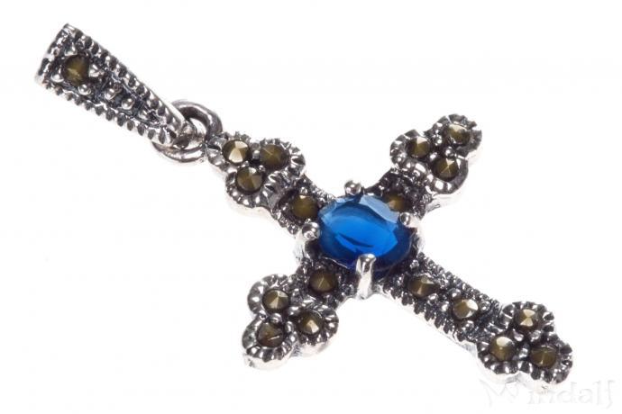 Kleiner Kreuz-Anhänger ~ LÁRIA ~ h: 3.2 cm - OZEAN BLUE - Mittelalter-Schmuck - Silber - Windalf.de