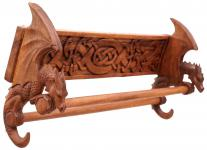 Vikings Handtuchhalter ~ DRACAN ~ 59 cm - Zwei Drachen mit Keltischen Knoten - Vintage Schalhalter - Handarbeit aus Holz - Windalf.de