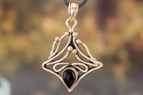 Mittelalter Schmuck-Anhänger ~ ELFENFEUER ~ 4 cm - Schwarzer Onyx - Schutz Amulett - Bronze - Windalf.de