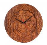 Wikinger Wanduhr ~ ODIN & SLEIPNIR ~ Ø 30 cm - Pagan Holzuhr - Handarbeit aus Holz - Windalf.de