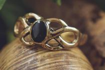 Keltischer Ring ~ BRIGANT ~ Celtic ~ Onyx - Bronze - Windalf.de