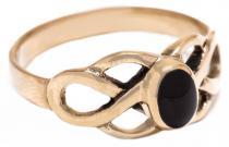 Keltischer Ring ~ BRIGANT ~ 8 mm - Celtic Knoten & Onyx - Bronze - Windalf.de