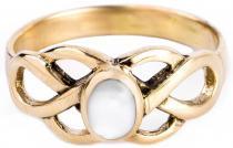 Keltischer Ring ~ BRIGANT ~ 8 mm - Celtic Knoten & Perlmutt - Bronze - Windalf.de