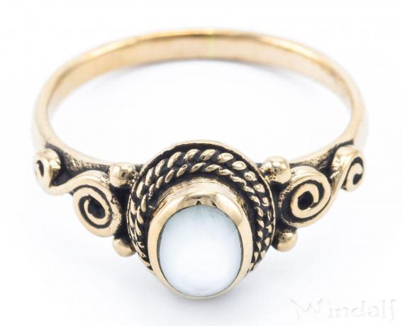 Mittelalter Ring ~ ALICE ~ 0.9 cm - Spirals mit Perlmutt - Vintage Bronze - Windalf.de