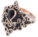 Gothic  Damen Ring ~ MILENA ~ 20 mm - Schwarzer Onyx - Vintage Bronze - Windalf.de