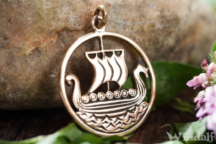 WINDALF Anhänger SVOLD Großes Wikinger Drachenschiff Bronze