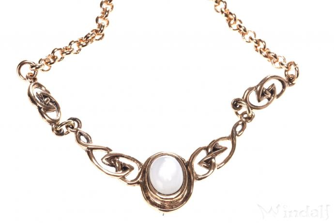 Collier ~ AINY ~ h: 2 cm - Keltische Knoten - Gothik Design mit Perlmutt - Bronze - Windalf.de