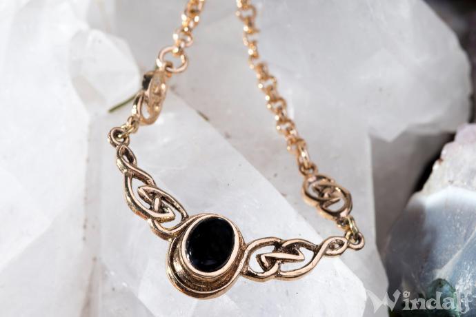 Mediaval Vintage Collier ~ AINY ~ 40 - 45 cm - Keltische Knoten - Gothic Design mit Onyx - Bronze - Windalf.de