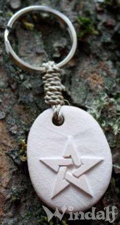 Schlüsselanhänger ~ PENTA ~ h: 3.5 cm - Schutz Amulett - Pentagramm - Zart-Roter Stein - Windalf.de