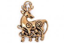 Fibel ~ DWALIN ~ Keltischer Hirsch - Vintage Bronze - Windalf.de