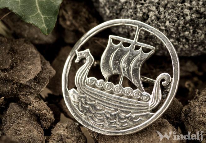Wikingerboot Schmuck Anhänger  925er Silber Drachenboot Viking Drachenschiff