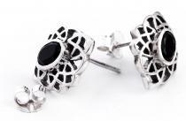 Keltische Ohrringe ~ HARMONY ~ h: 1.6 cm - Schwarzer Kristall - Silber - Windalf.de