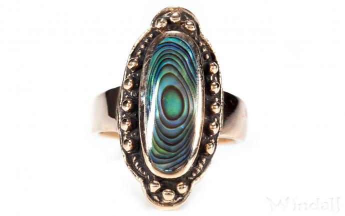 Vintage Elfen Ring ~ ABALONE ~ 2.4 cm - Mittelalter Seeopal-Ring - Bronze - Windalf.de