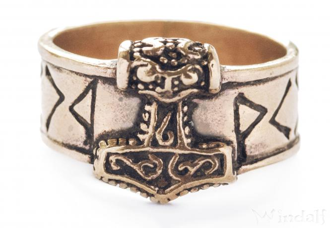 Wikinger Ring ~ THORNTAN ~ Thorshammer mit Runen - Bronze - Windalf.de