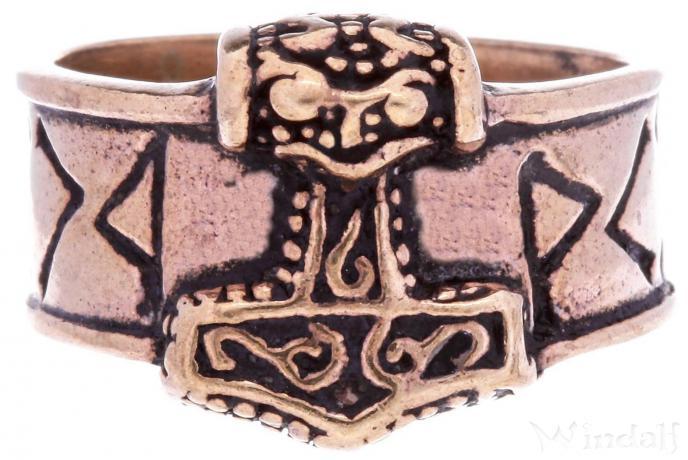 Wikinger Ring ~ THORN ~ Thorshammer mit Runen - Vintage Bronze - Windalf.de