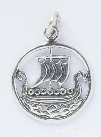 WINDALF Schmuck Anhänger SVOLD Wikinger Drachenschiff Silber