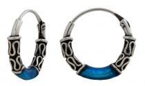 Creolen ~ LIONA ~ blau - 1,4 cm - Silber - Windalf.de