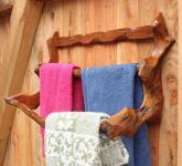Großer Handtuchhalter ~ RIAN ~ H: 39 cm B: 67 cm - Wand-Garderobe - Handarbeit aus Wurzelholz - Windalf.de
