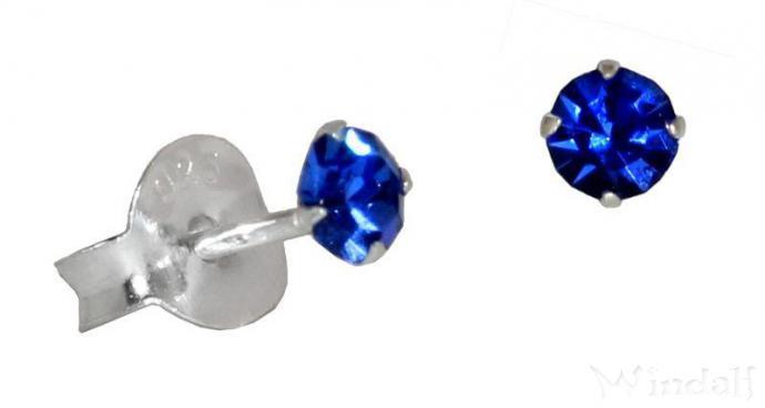 Ohrstecker ~ AKIRA ~ mit blauem Stein - 3 mm - Silber - Windalf.de