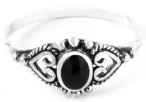 Mittelalter Ring ~ MELINA ~ 8 mm - Onyx Schutzring - Freundschaftsring - Midi Ring - Vintage Silber - Windalf.de