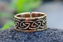 Keltischer Männer-Ring ~ ATHOR ~ 10 mm - Größenverstellbar - Keltischer Knoten - Massiv - Bronze - Windalf.de