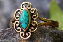 Zarter Damen Ring ~ NORI ~ h: 1.3 cm - Türkis - Bronze - Windalf.de