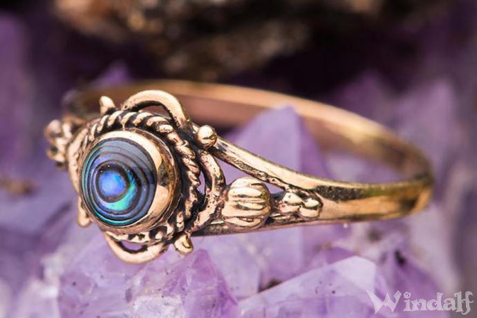 Zarter Mittelalter Ring ~ RICA ~ Seeopal - Bronze - Windalf.de