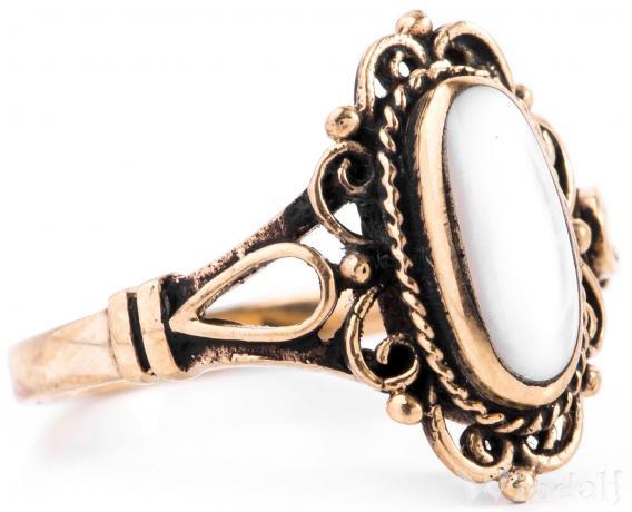 Mittelalter Damen Ring ~ IDANA ~ 15 mm - Perlmutt - Bronze - Windalf.de