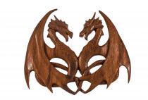 Wandbild ~ ZAVIA ~ b: 28.5 cm - Zwei Drachen - Celtic - Drachenliebe - Handarbeit aus Holz - Windalf.de