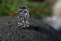Kelten Haar- & Bartschmuck ~ DWALIN ~ h: 1.4 cm - Keltische Perle - Silber - Windalf.de